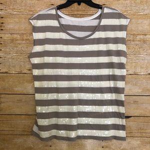 Ann Taylor Loft Gray & White Striped Top - Sequins